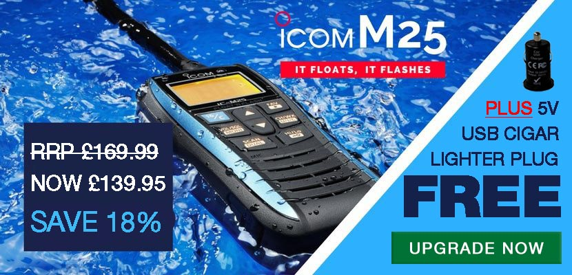 FREE CIGAR.005 Lighter Charger when you buy an IC-M25 VHF Handheld Radio
