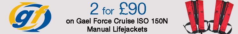 2 for £90 on Gael Force Cruise ISO 150N Manual Lifejackets