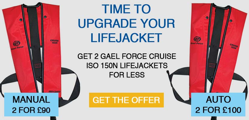 Get 2 Gael Force Cruise ISO 150N Lifejackets for less! 2 for £90 or 2 for £100 on Automatic and Manual lifejackets.