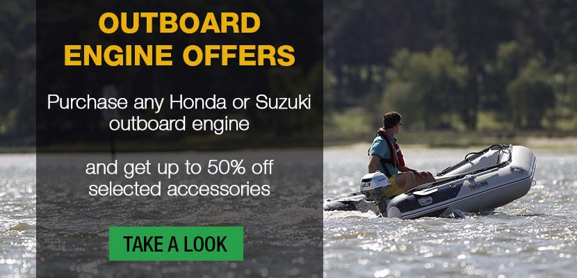 Purchase any Honda or Suzuki outboard engine and get up to 50% off selected accessories!