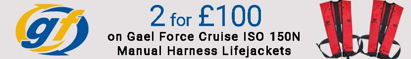 2 for £100 on Gael Force Cruise ISO 150N Manual Harness Lifejackets