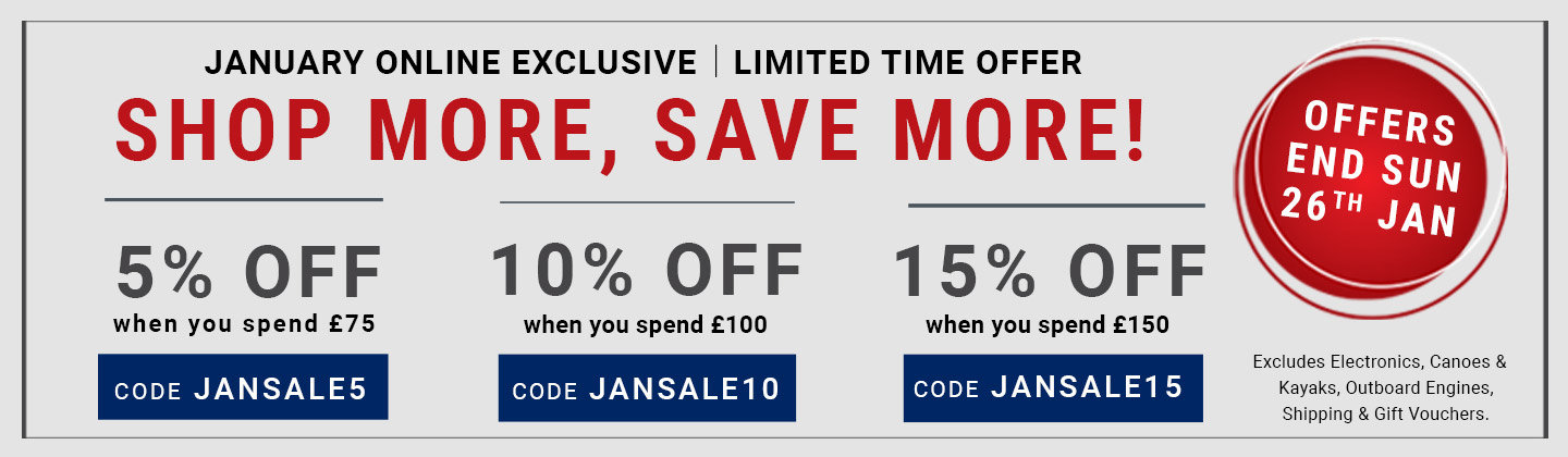 January online exclusive - Shop more, save more! 5% off when you spend 75.00. Use code JANSALE5. 10% off when you spend 100.00. Use code JANSALE10. 15% off when you spend 150.00. Use code JANSALE15. Exclusions apply.