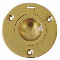Polished Brass Flush Ring Pull by Gael Force