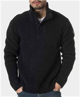 Holebrook Matt T-Neck Windproof Sweater - Black Melange