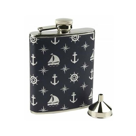 Nauticalia Nautical Patterned Hip Flask  - Click to view a larger image