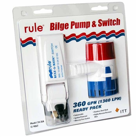 Rule 360 Submersible pump with Non Mercury Float Switch  - Click to view a larger image
