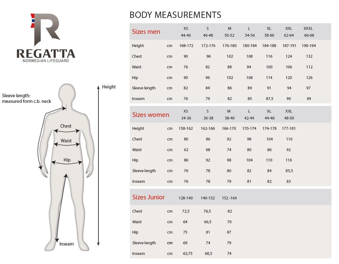 Regatta Size Chart